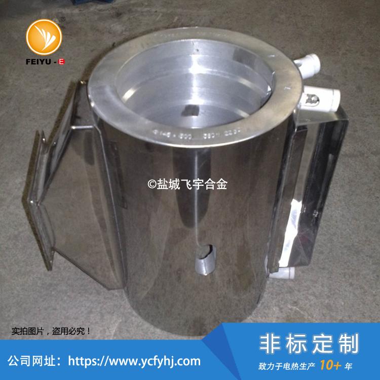 带风罩铸铝加热圈,在铸铝加热圈外部加上风罩。