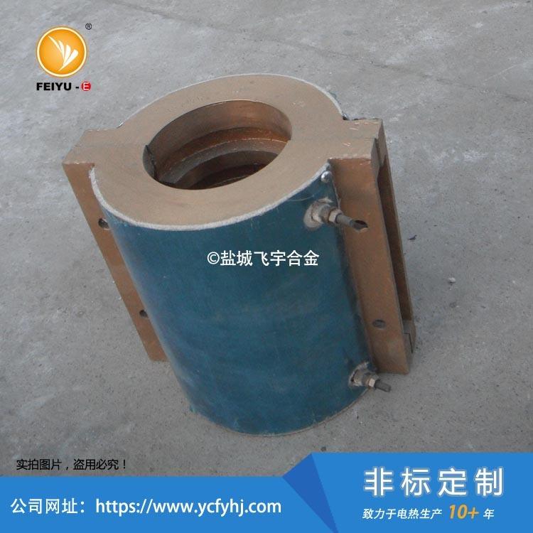 内风槽铸铜加热圈2块拼接,内部抽槽加工,风冷循环!